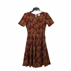 LuLaRoe Womens A Line Dress Purple Floral Size XS